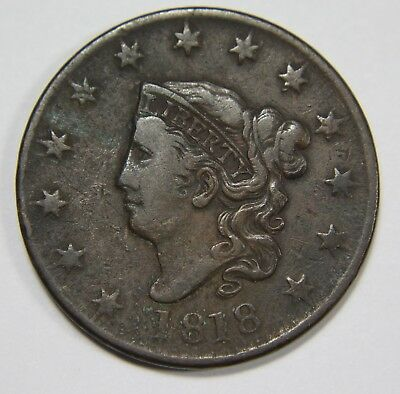 1818 Liberty Matron Head Large Cent Penny Old US Coin NR P1R L001
