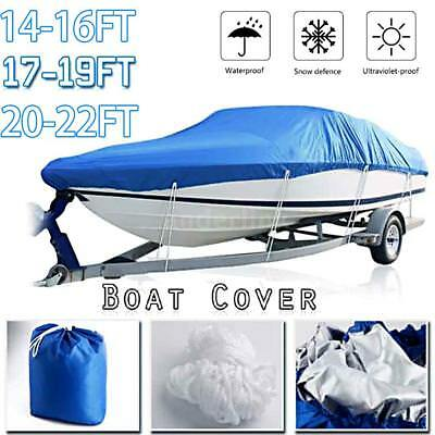 Waterproof Heavy Duty Trailerable Fish Ski Boat Cover V-Hull Beam Silver O5Z4