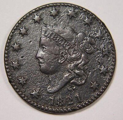 1821 Liberty Matron Head Large Cent Penny Old US Coin NR P1R XX095