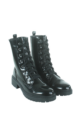 Postal-03A-05 Women Combat Boot Qupid Black Pu