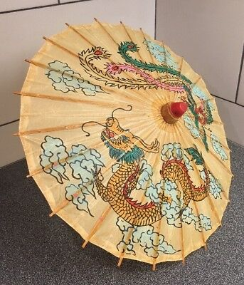 Vintage Hand Painted Dragon Chinese Bamboo Rice Paper Ceremonial Umbrella 19""