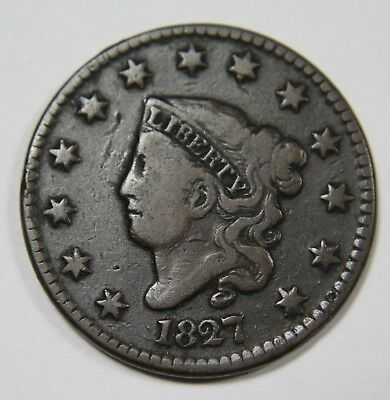 1827 Liberty Matron Head Large Cent Penny Old US Coin NR P1R XX039