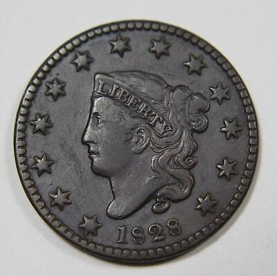 1828 Small Wide Date Liberty Matron Head Large Cent Penny Old US Coin P1R XX038
