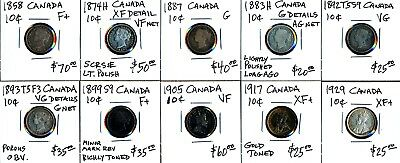 Ten Canada Dimes (1858-1929) All Different Dates > Nice!! See Images > No Rsrv