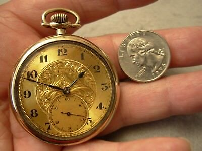 Nice 1920 Illinois Hallmark 14 Size 17 Jewel Open Face 20 Yr Gold Pocket Watch