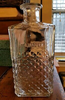 """Vintage I.W. Harper Diamond Cut Decanter Bottle 9 1/2"""" With Glass Corked Stopper"""