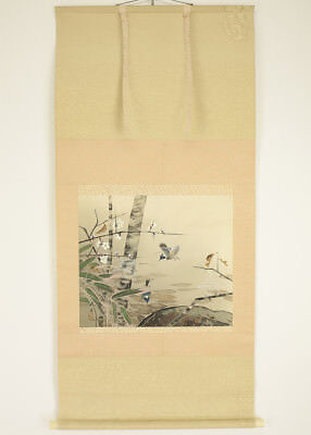 "Japanese Hanging Scroll ""Flower and Bird""  @g989"