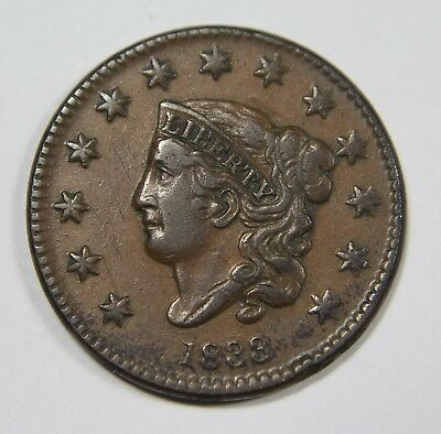 1833 Liberty Matron Head Large Cent Penny Old US Coin NR Free Ship P1R XX032