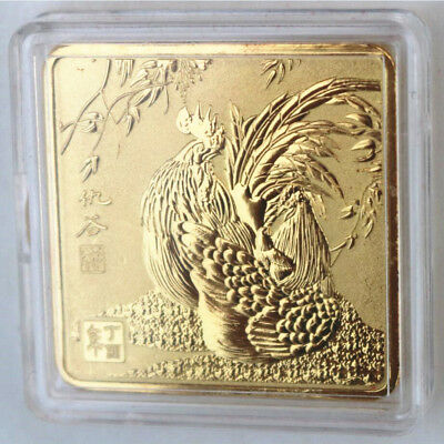 30*30mm Rooster Year Gold Plated Zodiac Chicken Commemorative Coin Collection #1