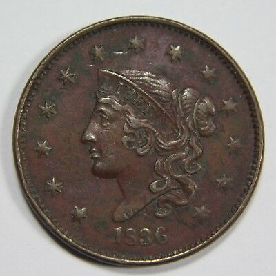 1836 Liberty Young Head Large Cent Penny Old US Coin NR Free Ship P1R XX028