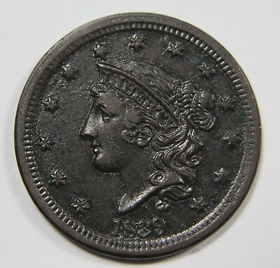 1839 Silly Head Liberty Matron Head Large Cent Penny Old US Coin NR P1R G077