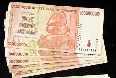 ZIMBABWE 50 BILLION DOLLAR 2008 circulated VF.10 20 100 TRILLION.$50,000,000,000
