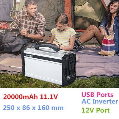 20000MAh Multifunctional Outdoor Power Source W/ USB Ports AC Inverter 12V Port