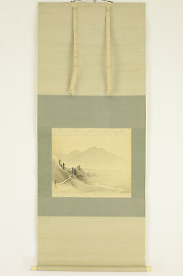 "Japanese Hanging Scroll : KAWAI GYOKUDO ""Mountain Road Scenery""  @g980"