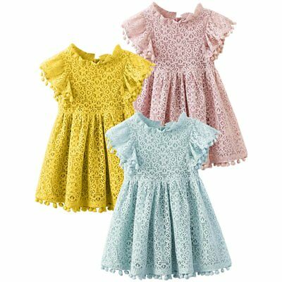 NEW BABY GIRL Party Dress Lace Hollow Flower Girls Wedding Dresses ...