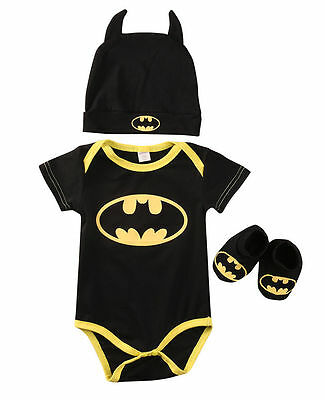 Newborn Infant Baby Boys 3Pcs Outfits Batman Romper + Shoes + Hat Beanie Clothes
