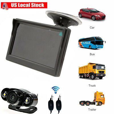 """Wireless IR Car Rear View Backup Camera+5"""" Monitor for BUS Truck Trailer 12-24V"""