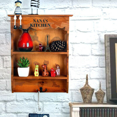 Rustic Wood Dresser Wall Storage Shelf Vintage NANA'S Kitchen Shelving Hook Rack