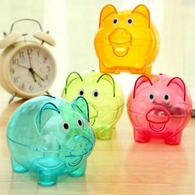 Clear PIGGY Bank Coin Money Plastic Cash Openable Saving Box Kid Pig JJ