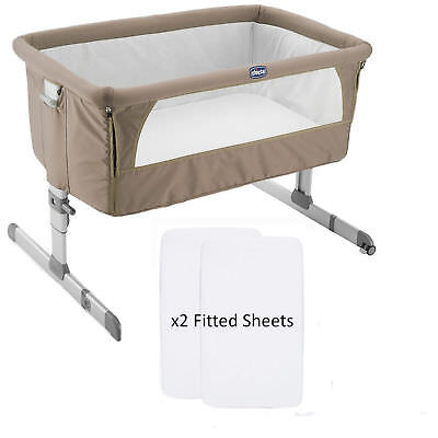 NEW CHICCO DOVE GREY NEXT 2 ME SIDE SLEEPING CRIB WITH x2 FITTED SHEETS