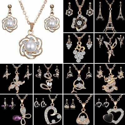 Womens 18K Gold Filled CZ Pearl Love Heart Earrings Necklace Set Jewellery Gift