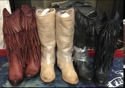 8fe53724d0 FREEBIRD BY STEVEN RangerTall Fringed Boots Boho MSRP $350 NEW Wine OR  Natural - $229.99 | PicClick
