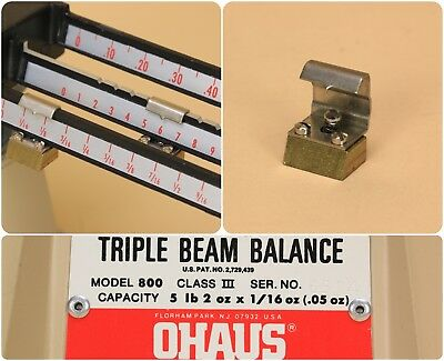 Ohaus Triple Beam Balance Scale Model 800 Series Counter Weight Assembly -