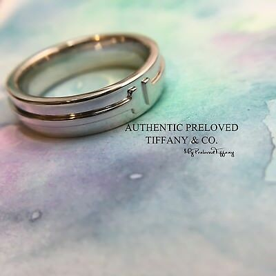 Excellent Authentic Tiffany & Co. T Two Ring 18K White Gold Ring RP$1600