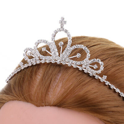 Glitter Princess Crown Tiara Crytsal Headband Wedding Bridal Hair Accessory