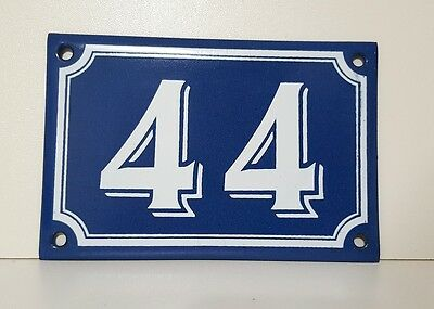 Vintage French Blue Enamel Porcelain Door House Gate Number Sign Plate 44