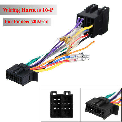 16p car stereo radio player wiring harness connector iso pi100 for pioneer  03-on