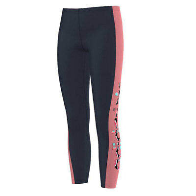 adidas Originals Kids Girls Moscow Navy Pink Fitness 2 Panel Leggings AB2177
