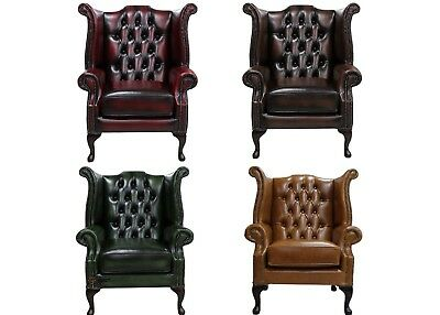Brand New Handmade Chesterfield Genuine Leather Queen Anne Chair