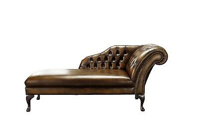 Handmade Chesterfield Genuine Leather Chaise Lounge Day Bed Antique Tan