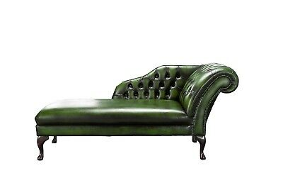 Handmade Chesterfield Genuine Leather Chaise Lounge Day Bed Antique Green