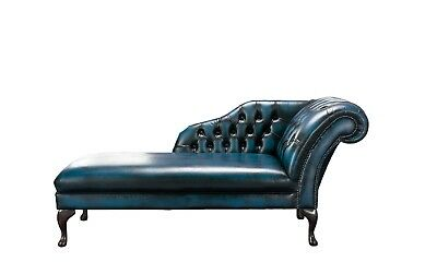 Handmade Chesterfield Genuine Leather Chaise Lounge Day Bed Antique Blue