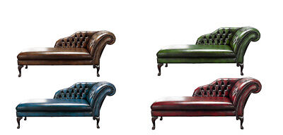 Brand New Handmade Chesterfield Genuine Leather Chaise Lounge Day Bed Antique