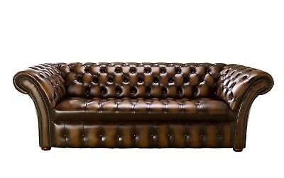 Brand New Handmade Chesterfield Balmoral 3 Seater Leather Sofa Antique Tan