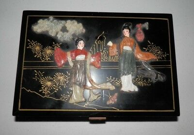 Vintage Chinese Black Lacquer Wood Jewelry Box /w Hinges - READ DESC