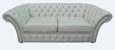 Chesterfield Crystal Diamante Balmoral 3 Seater Sofa Settee Winter White Leather