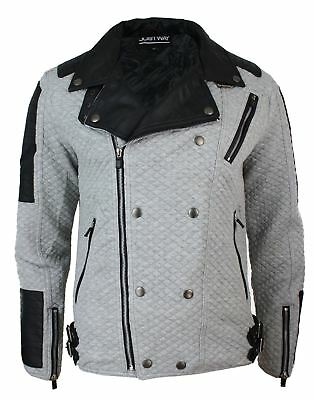 Herrenjacke Biker Still Schwarz Grau Retro Leder Optik Plaketten Rock Punk
