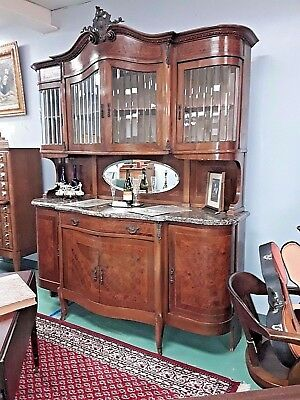 Antique French Marble Top Buffet Leaded Glass Bronze Accents ALL ORIGINAL WOW!
