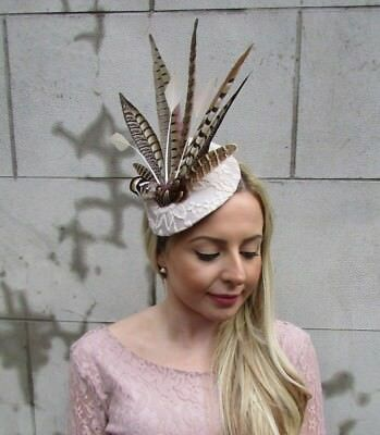 Large Beige Cream Brown Pheasant Feather Hat Fascinator Headband Races Hair 5468