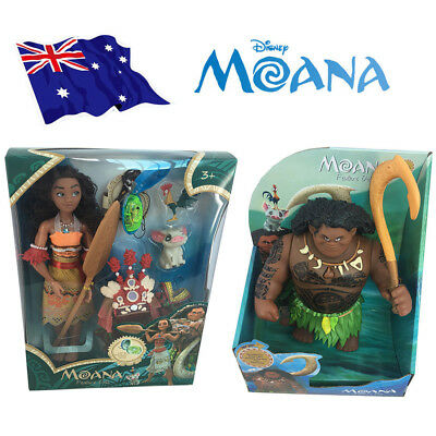 Singing Moana & Friends Maui Action Figures Doll Light & Movie Song Kids Toys