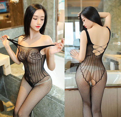 Bodystocking A Rete Cavallo Aperto Farfalla Body Stocking Jacquard Catsuit Sexy
