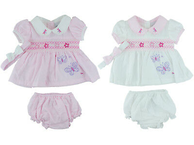 Baby Girls Spanish Style Dress & Pants Pink or White Butterflies 0-3, 3-6 Months