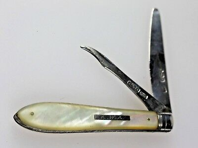 1893 Antique Silver Fruit Cutter Mother of Pearl Handle Hallmarked Sheffield