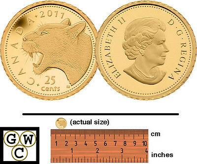 2011 'Cougar' Proof 25-Cent .9999 Fine Gold (12891) (NT)