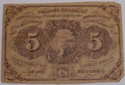 1862 Five Cent US Fractional Currency