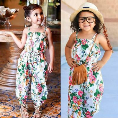 Toddler Baby Girls Floral Print Sleeveless Sunmmer Strap Romper Jumpsuit Outfits